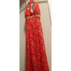 Red lace embellished long dress